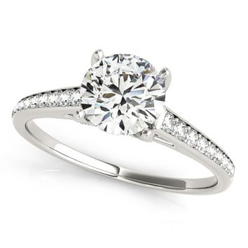 14K White Gold Round Diamond Single Row Engagement Ring With Cathedral Design (1 1/3 ct. tw.)