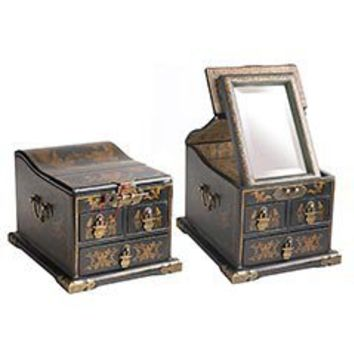 Pier 1 Imports - Black Jewelry Box with Mirror