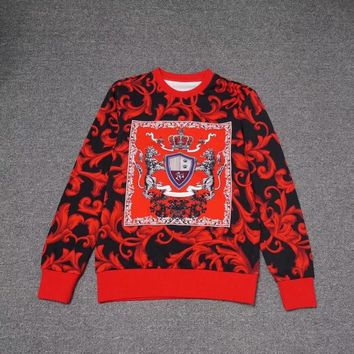 2018 Versace autumn and winter new full-print red leaf crown cotton round neck sweater