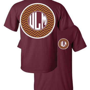 Southern Couture ULM Warhawks Chevron Logo Monogram University of Louisana Monroe Girlie Bright T Shirt