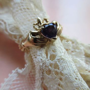 Vintage 10K Crowned Amethyst Heart Claddagh Ring Betrothal - Friendship Ring, Friendship, Love & Loyalty