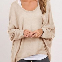 Apricot Bat-wing Long Sleeve Hi-Low Top