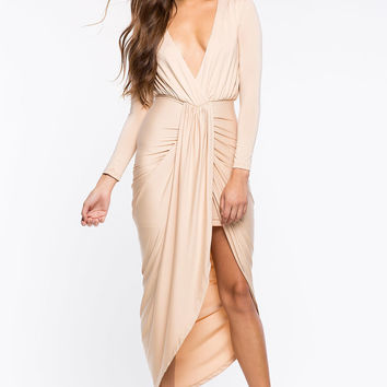 Delilah Drape Surplice Dress