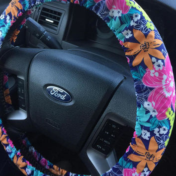 Spring Bright Flower Print Steering Wheel Cover