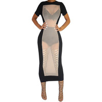 Nude Mesh Cut-Out Short Sleeve Bodycon Midi Dress