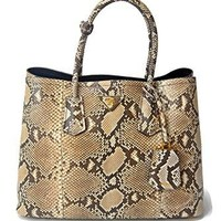 Prada XL Genuine Python Snake Skin Double Tote Shoulder Hand Bag - Extremely Limited Edition - Reserved For Prada VIP Customers