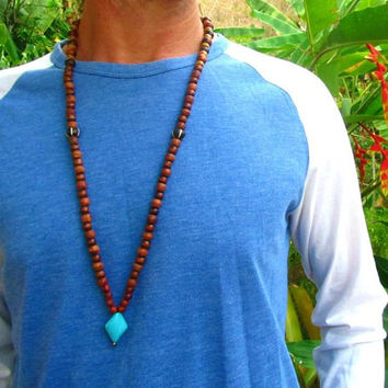 108  Beaded Mala Necklace / Ethnic Tribal Necklace / Mens Beaded Long Necklace / Mala Bead Necklace / Hippie Surfer Necklace