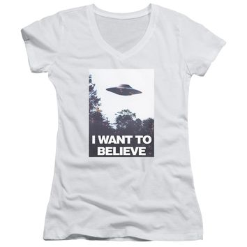 X Files - Believe Poster Junior V Neck Officially Licensed Apparel