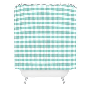 Caroline Okun Icy Gingham Shower Curtain