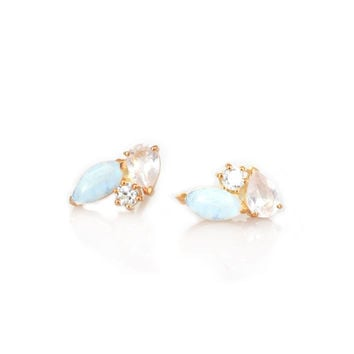 Rainbow Moonstone, Rose Quartz & Diamond Trinity Studs
