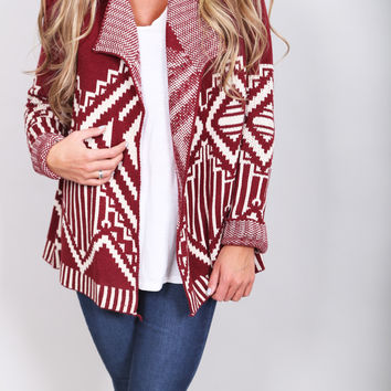 Campfire Stories Cardigan {Burgundy}