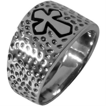 DCCKU3R Dimpled Medieval Cross - Silver Ring