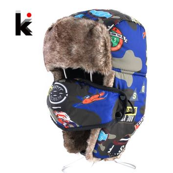 c75d096129f Bomber Hats For Boys And Girls Winter Kids Outdoor Faux Fur Thick Caps With Ear  Flaps