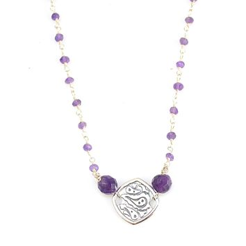 Sterling Silver and Gemstone Single Station Necklace