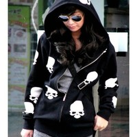 Free Size Women Skeleton Pringting Black Blends Zipper Hoddie@T970b