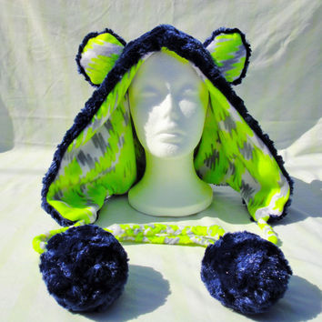 Scribble Bear Rave Hood Blue Neon Yellow Spirit Hood Animal Scoodie Gray White