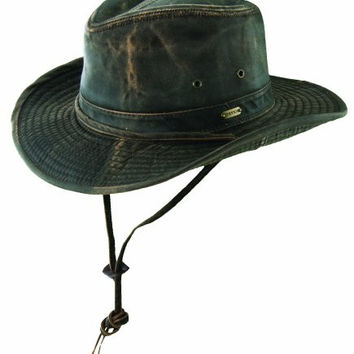 Stetson Men's Large Weathered Cotton w/ Chin Cord Outback Hat (Brown)