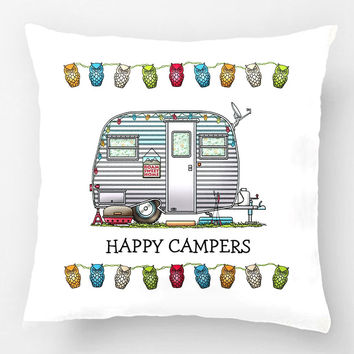 Cute Rv Vintage Teardrop C&er Travel Trailer Wedding Decorative Cushion Cover Pillow Case Customize Gift For
