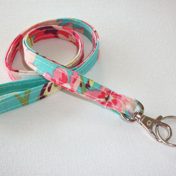 Love bliss Lanyard ID Badge Holder - aqua pink coral flowers - Lobster clasp and key ring