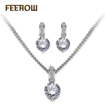 FEEROW Fashion Women Earrings and Necklace Round Cut 6mm Cubic Zirconia Diamond Wedding Jewelry Sets For Bridal FWSP028