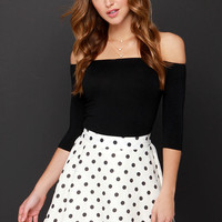JOA Dots Enough Cream Polka Dot Skirt