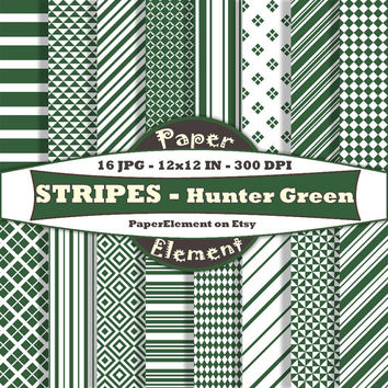 Hunter Green Stripe Digital Background Set - Printable Scrapbook Paper Patterns - Instant Download