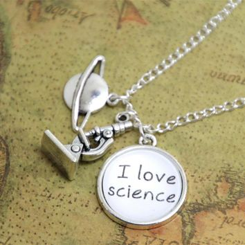12pcs/lot I Love Science Necklace  Science  Chemistry  Biology Jewelry  Scientist Biologist Astronomist Chemist Physics