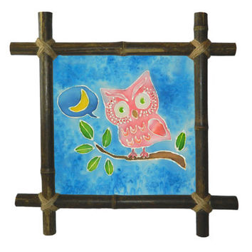 Owl Kids Painting,Silk Bird painting,Birds,Batik Art,Bamboo frame,Wall hanging,Nursery decor,Drawing fabric,Painted silk,Baby shower gift