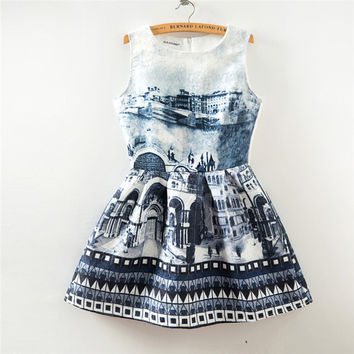 Vintage Print Slim Sleeveless Vest Dress One Piece Dress [4919365636]