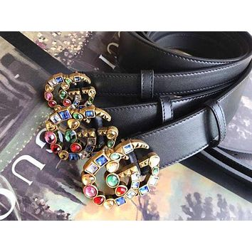 Gucci Stylish Women Belt Multicolor Diamond Crystal Buckle Belt Multicolor Agate Leather Belt Black I-RSG-PJC