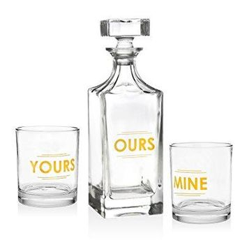 Godinger Silver Art Clarion Square Nonleaded Crystal Whiskey Decanter With Glass Stopper