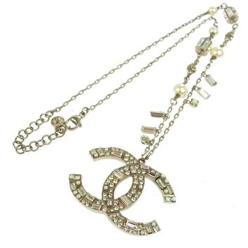 Chanel Silver Multi Strand Embellished Stone Pearl Large Charm Link Necklace