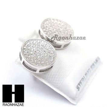 DCCKH7E Iced Out Sterling Silver .925 Lab Diamond 12mm Circle Screw Back Earring SE026S