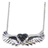 .925 Sterling Silver Winged Black Heart Necklace
