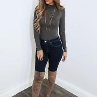 Just Ask Me Bodysuit: Charcoal