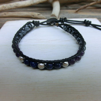 Cosmic Meteorite and Gemstone Men's Leather Wrap Japanese Powerstone Bracelet handmade by Off on a Whim - Amethyst Obsidian Lapis