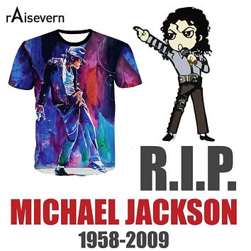 Raisevern Produced To Commemorate Michael Jackson Painting Print T Shirt Men/Women Camiseta T-shirt MJ Dancing Top Tee Costume
