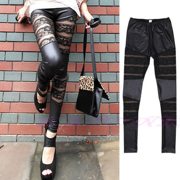 Black Punk Lace Faux Leather Splice Stretch Pants Womens Girls Skinny Leggings