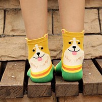 Hot!! 1 Pair New 3D Animals Style Striped Women Lady Socks Dogs Number Stereoscopic Cotton Hosiery Socks