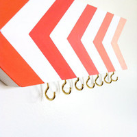 Coral chevrons wall hook - jewelry or craft organizer - stripes - geometric ombre - organization - arrow - spring summer - pink orange