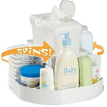 The Spin Changing Station | Baby and Toddler Nursery Organizer & Diaper Caddy – White