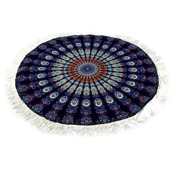 Dark Dreams Peacock Mandala Tassel Tapestry