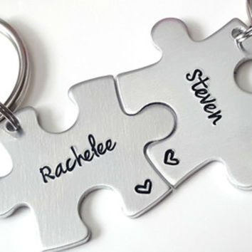 Hand Stamped Personalized Couples Puzzle Piece Keychains, Anniversary Keychains, Wedding Gift, Couples Keychains, Boyfriend Gift, Customize