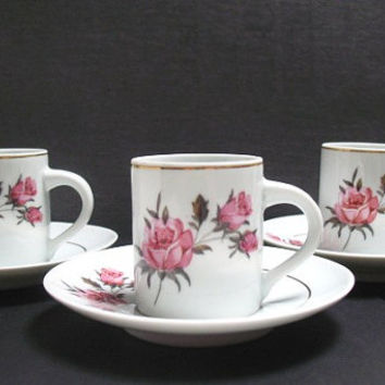 Vintage Demitasse Cup and Saucer -  Set of Four - Espresso Cups - Schmidt Porcelana Brazil, Pink Rose Teacup