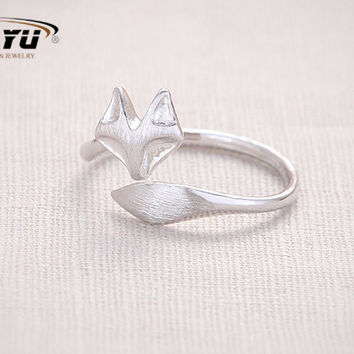 Fashion Fox's Head Ring Cute Animal Open Fox Ring for Women Party Gift Simple Lovely Ring Fox Wedding Gifts  R017