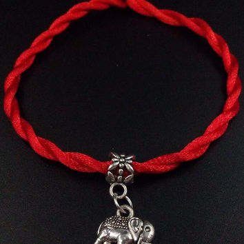 1Pcs Hot Fashion Vintage Silver Mixed Tree Elephants Clover OM Pentacle Light Lucky Red String Rope Cord Charm Bracelet