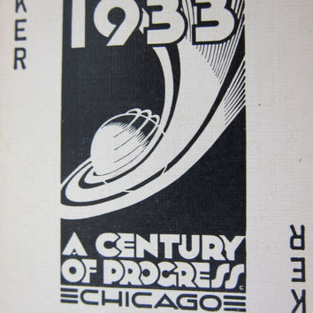 1933 Chicago World's Fair Century of Progress Exposition Playing Cards - Federal Building Souvenir Boxed Deck