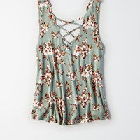AEO Soft & Sexy Scalloped Double-V Tank, Mint