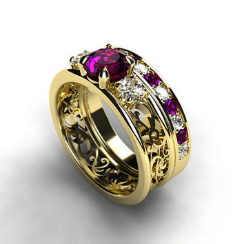 Filigree engagement ring set, Amethyst and white sapphire trinity ring, yellow gold ring, amethyst wedding ring, white sapphire, lace ring