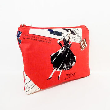 Fabric Pouch, Zipper Pouch. Coin Purse, Small Wallet, Change Purse, Cute Pouch, Red Pouch, Pouch, Small Pouch, Paris Fashion Couture in Red